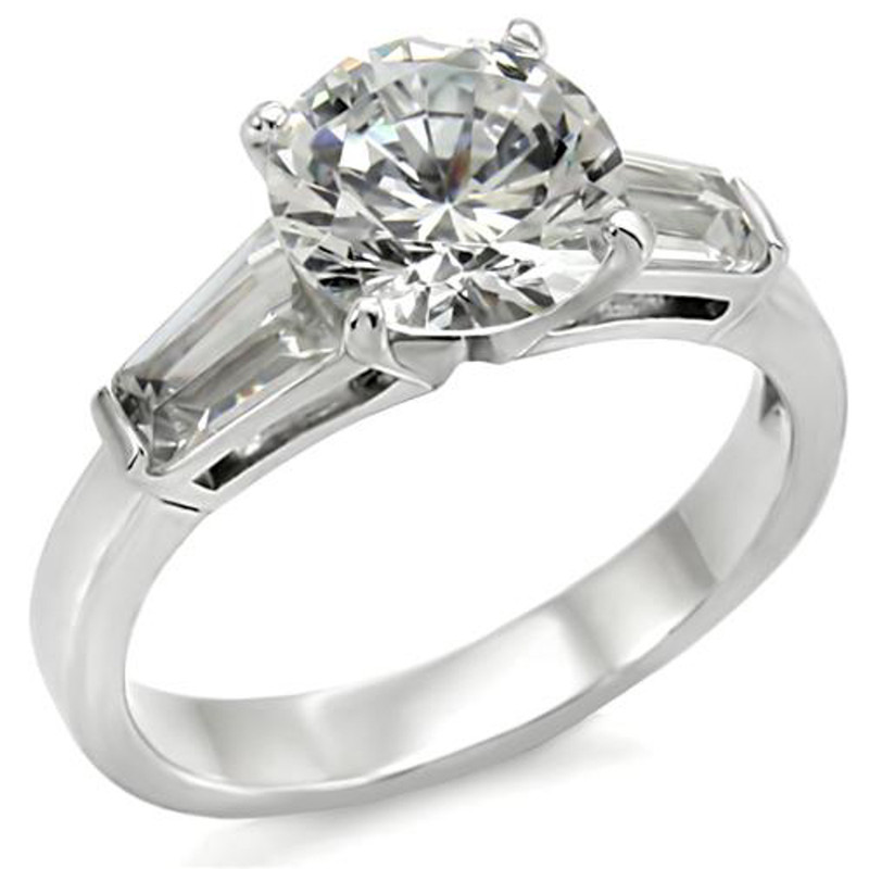 3 Ct Round & Baguette Cut CZ Stainless Steel Engagement Ring