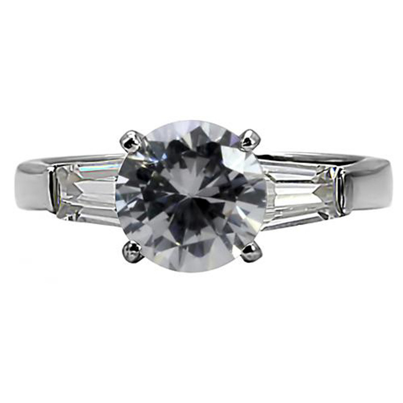 ARTK005 Stainless Steel 3 Ct Round & Baguette Cut CZ Engagement Ring Women's Size 5-10