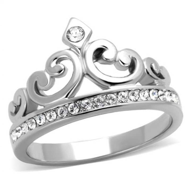 Princess Royalty Crystal Crown Silver Stainless Steel Fashion Ring