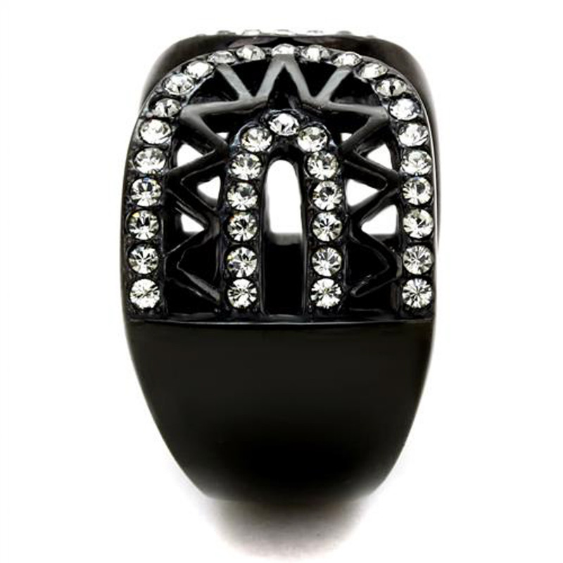 ARTK2166 Stainless Steel Black Ion Plated Crystal Finger Cuff Fashion Ring Womens Sz 5-10