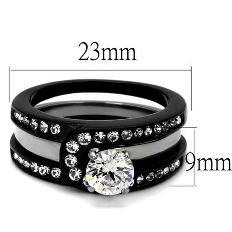 ARTK2303 Stainless Steel Silver & Black Women's AAA CZ Wedding Ring Band Set Size 5-10