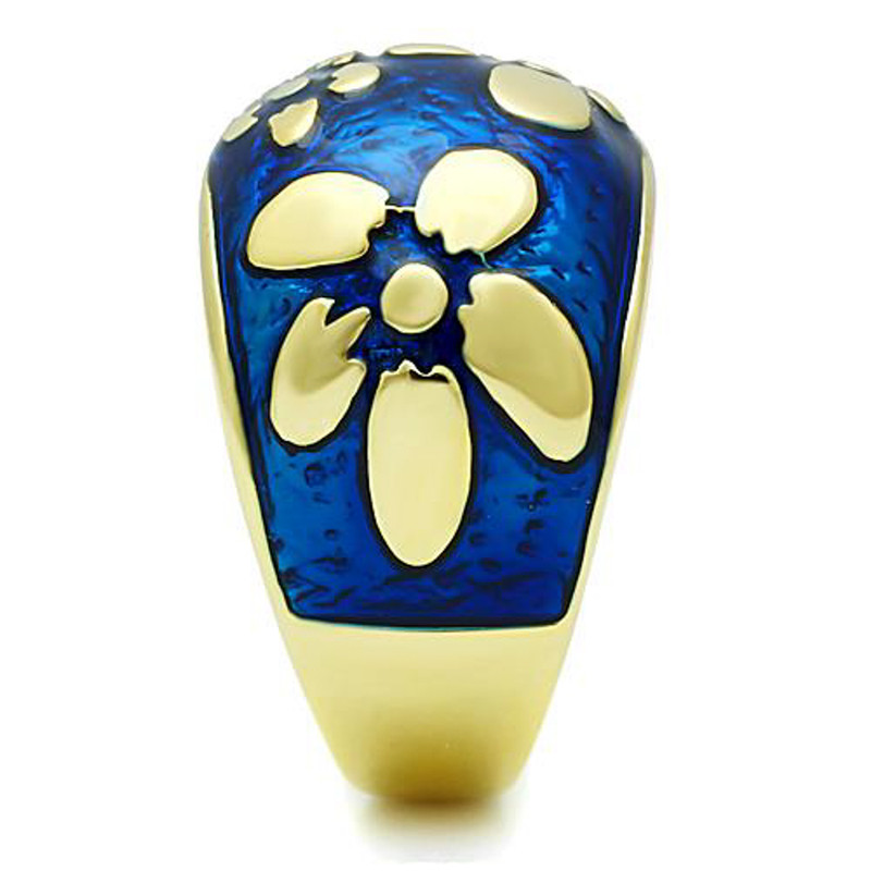 ARTK1399 Stainless Steel 14K Gold Plated & Capri Blue Epoxy Flower Fashion Ring Size 5-10