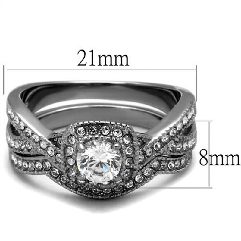 ARTK2296 Stainless Steel Round Cut .81 Ct Zirconia Halo Wedding Ring Set Womens Size 5-10