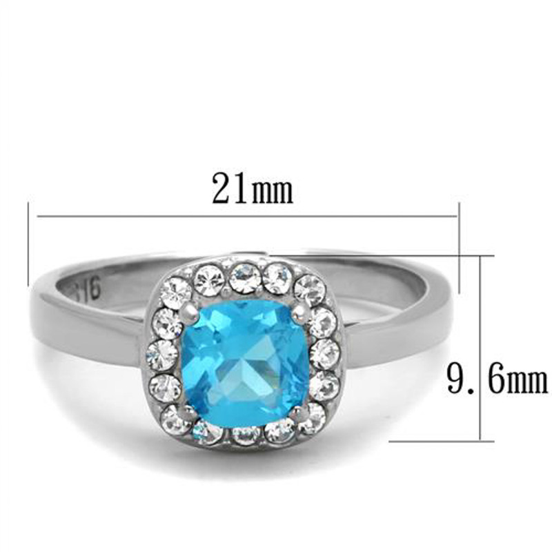 ARTK2161 Stainless Steel Women's .92 Ct Cushion Cut Sea Blue Cz Halo Engagement Ring 5-10
