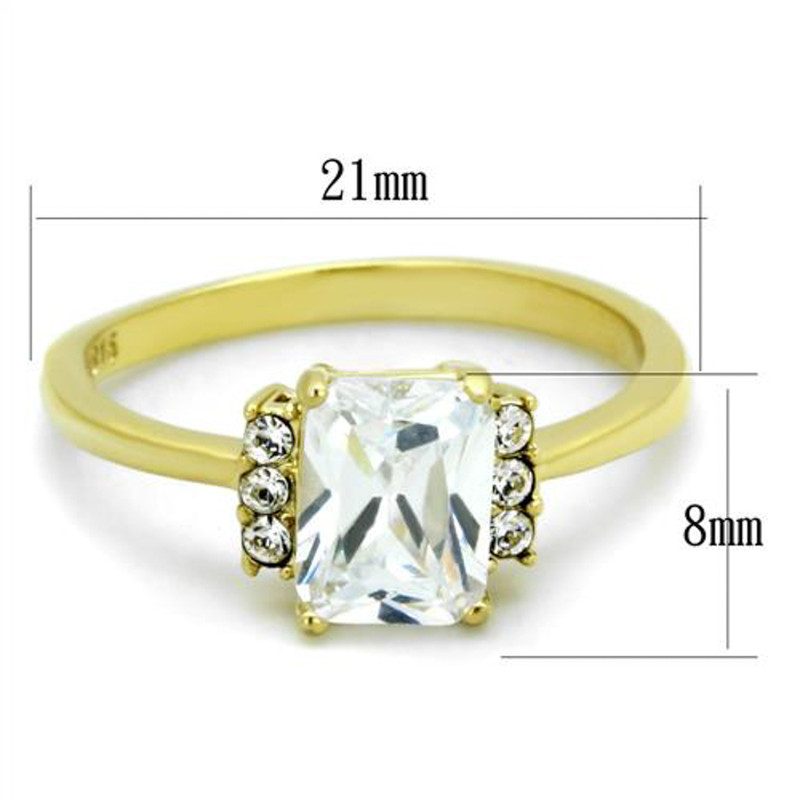 ARTK1876 Stainless Steel 1.77 Ct Emerald Cut CZ Gold Plated Engagement Ring Womens Sz 5-10
