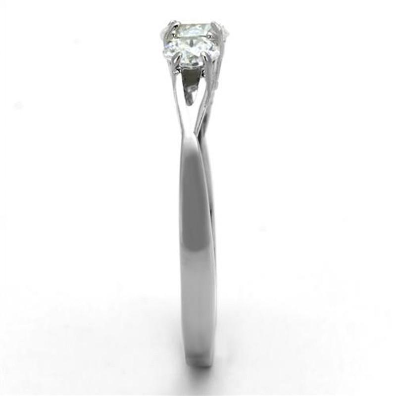 ARTK2260 Stainless Steel Women's Three Stone .96 Ct Zirconia Anniversary Ring Size 5-10