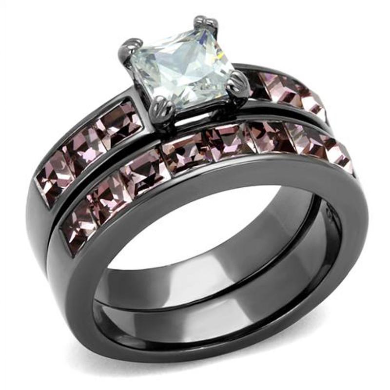 ARTK61206LJ Stainless Steel Women's 3.75 Ct Princess Cut AAA CZ Light Black Wedding Ring Set