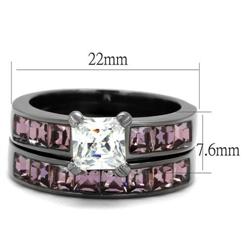 ARTK61206LJ Stainless Steel Women's 3.75 Ct Princess Cut AAA CZ Light Black Wedding Ring Set