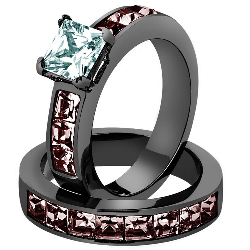 Women's 3.75 Ct Princess Cut AAA CZ Light Black Stainless Steel Wedding Ring Set