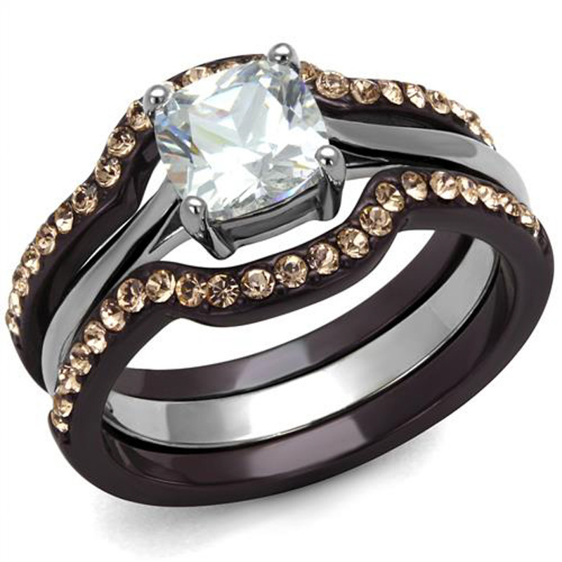 1.85 CT CUSHION CUT CZ BROWN STAINLESS STEEL WEDDING RING SET WOMEN'S SIZE 5-10