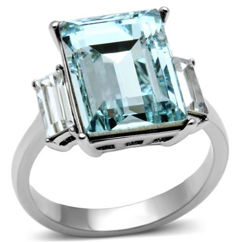 Women's 10.6 Ct Radiant Cut Sea Blue Crystal Stainless Steel Engagement Ring