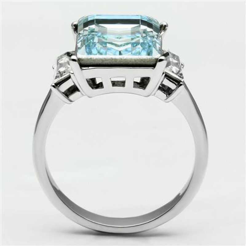 ARTK1862 Stainless Steel Women's 10.6 Ct Radiant Cut Sea Blue Crystal Engagement Ring