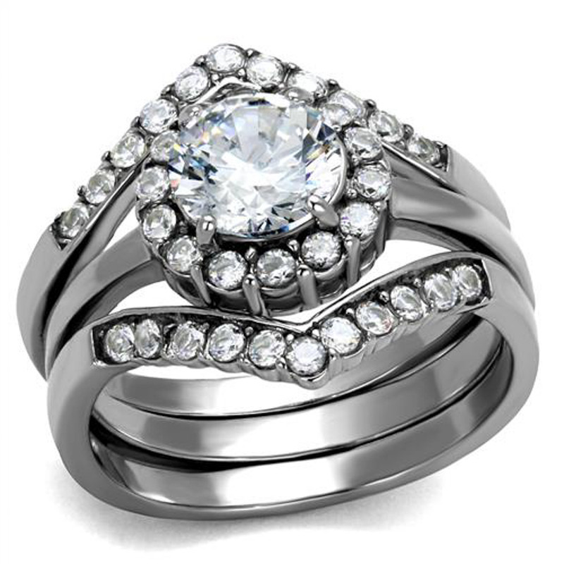 Women's 2.25 Ct Round Cut AAA CZ Stainless Steel Wedding Ring Band Set