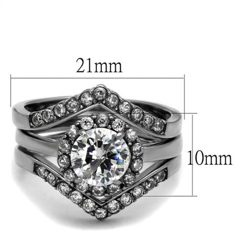 ARTK2297 Stainless Steel Women's 2.25 Ct Round Cut AAA CZ Wedding Ring Band Set Size 5-10