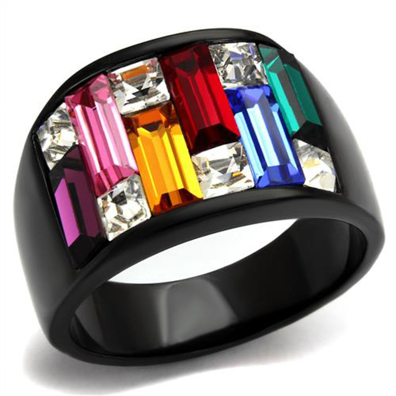 4.68 Ct Multi-Color Crystal Black Stainless Steel Cocktail Ring Women's Sz 5-10