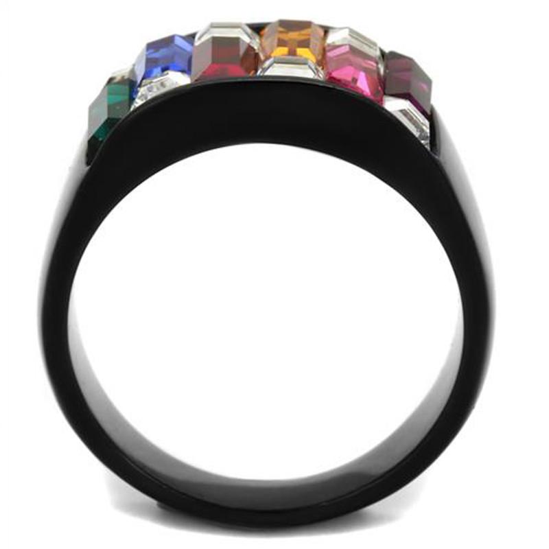 ARTK1397J Stainless Steel 4.68 Ct Multi-Color Crystal Black Cocktail Ring Women's Sz 5-10