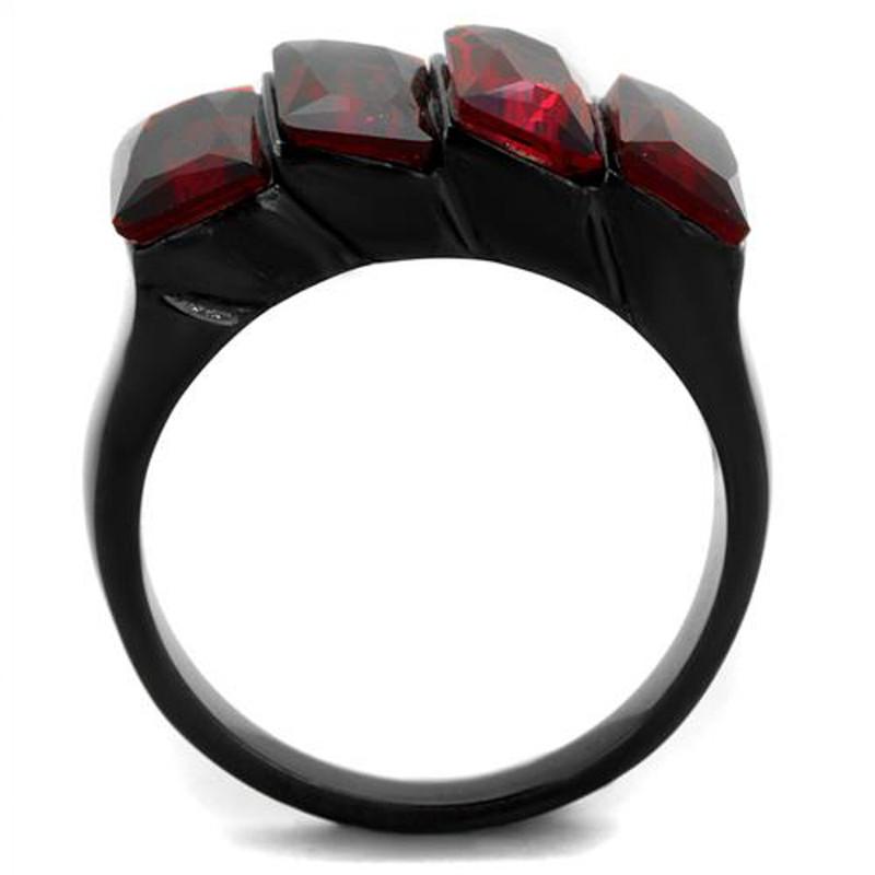 ARTK1854 Stainless Steel 6.96 Ct Emerald Cut Siam Cz Black Fashion Ring Women's Sz 5-10