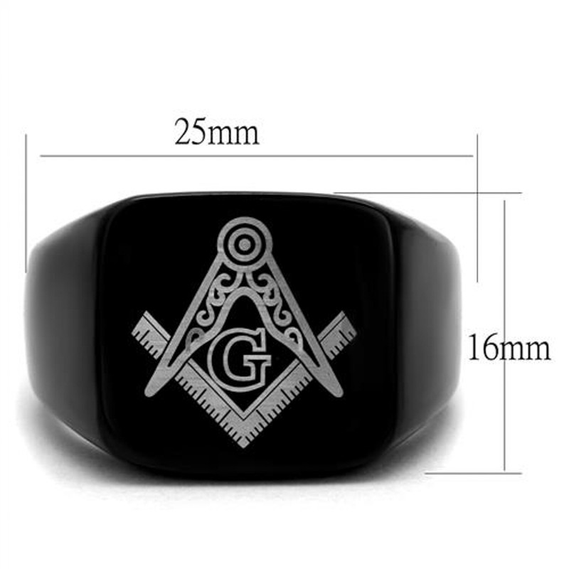ARTK2227 Stainless Steel Black Ion Plated Masonic Lodge Freemason Ring Band Men's Sz 8-13