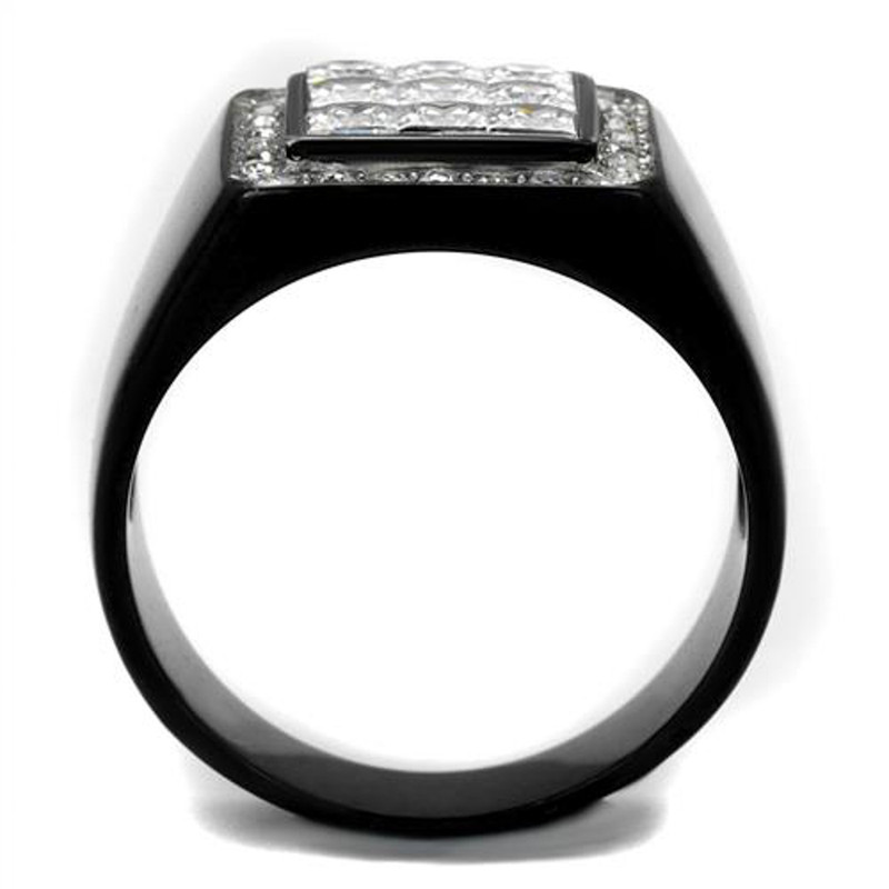 ARTK2230 Stainless Steel Men's Princess Cut Simulated Diamond Black Plated Ring Size 8-13