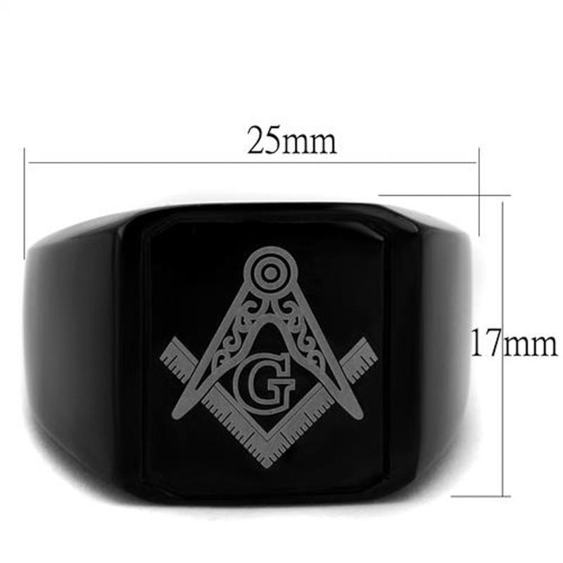 ARTK2371 Stainless Steel Men's Black Ion Plated & Enamel Masonic Freemason Ring Size 8-13