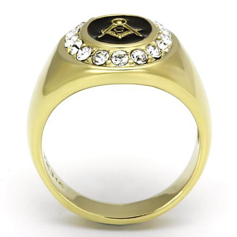 ARTK766 Stainless Steel Men's 14k Gold I.P. Crystal Masonic Freemason Ring Band Sz 8-13