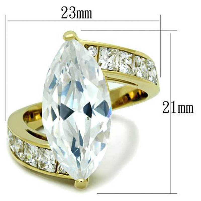 ARTK1723 Stainless Steel Women's 9.38 Ct Marquise Cut Cz 14k Gold Plated Engagement Ring