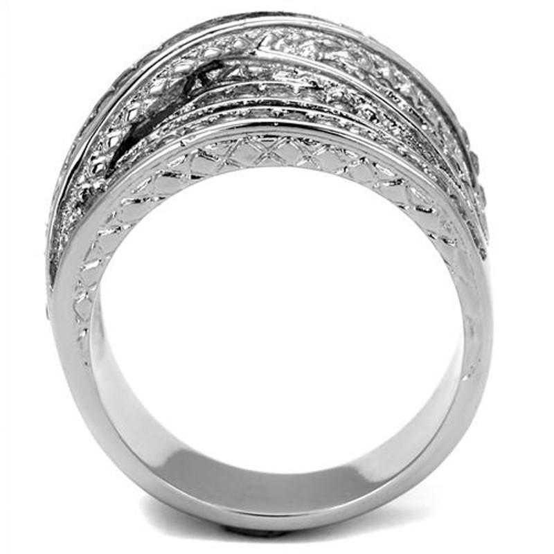 ARTK2096 Stainless Steel Women's Round Cut Cubic Zirconia Anniversary Ring Size 5-10