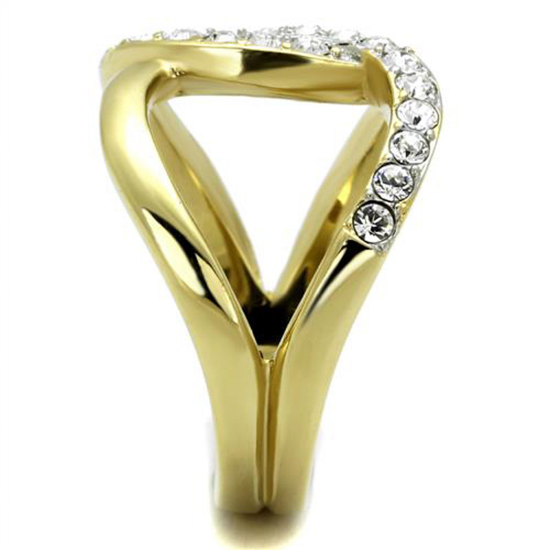 ARTK2253 Stainless Steel 14k Gold Plated Crystal Infinity Fashion Ring Women's Size 5-10