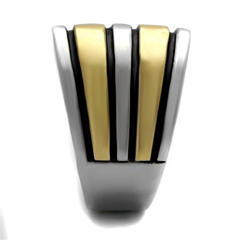 ARTK2367 Stainless Steel Two Toned Gold & Silver with Black Epoxy Fashion Ring Size 5-10