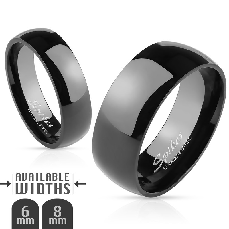 AR003 Stainless Steel Unisex 316 Black Ion Plated Wedding Band Ring 6mm or 8mm Sz 5-14