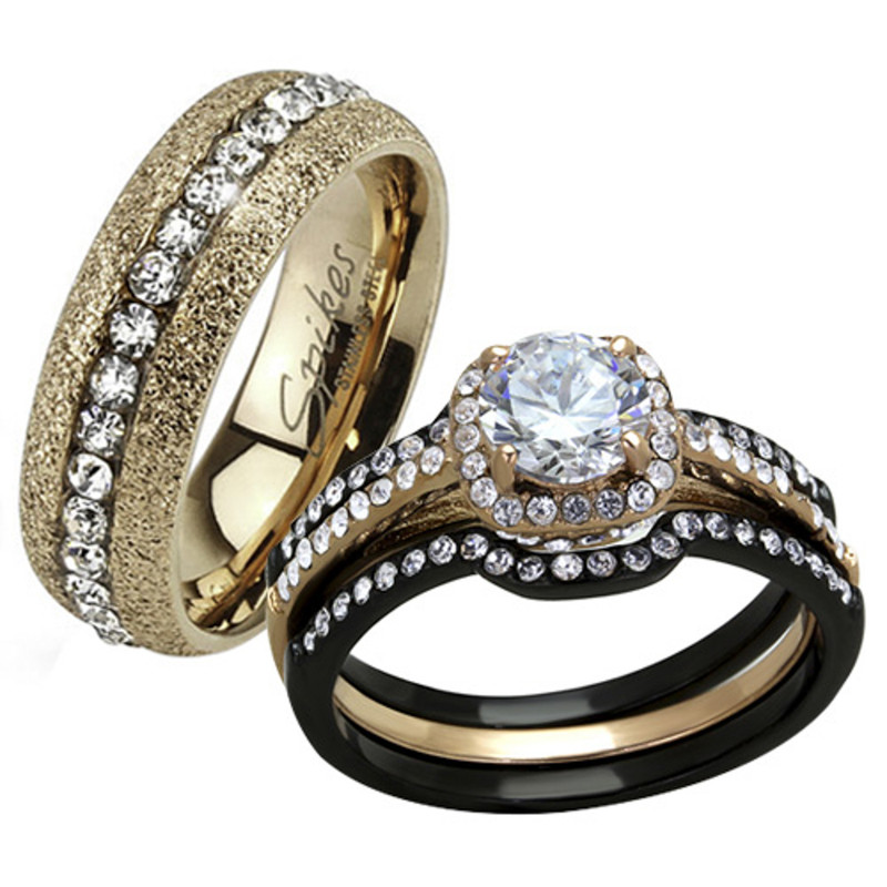 HIS HERS 4 PC BLACK & ROSE GOLD STAINLESS STEEL WEDDING ENGAGEMENT RING BAND SET