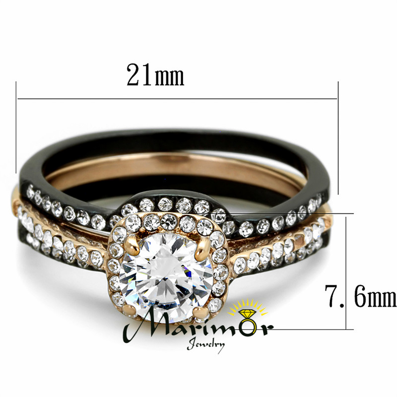 ST2020-RH78486 Stainless Steel His & Hers 4 Pc Black & Rose Gold Wedding Engagement Ring Band Set