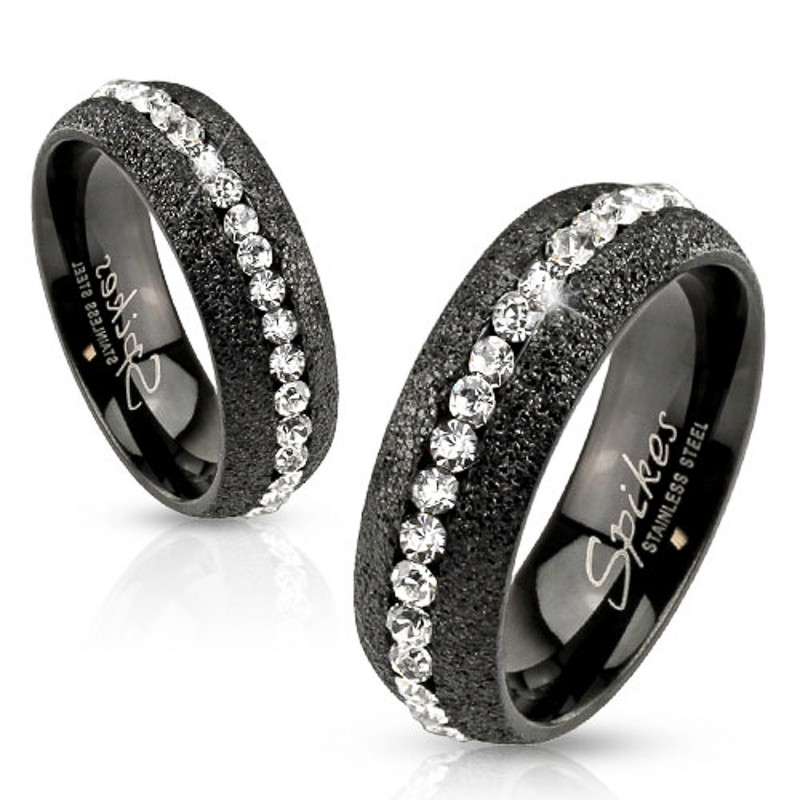 ST1869-RH78476 Stainless Steel His & Hers 4 Pc Black Ion Plated Wedding Engagement Ring Band Set