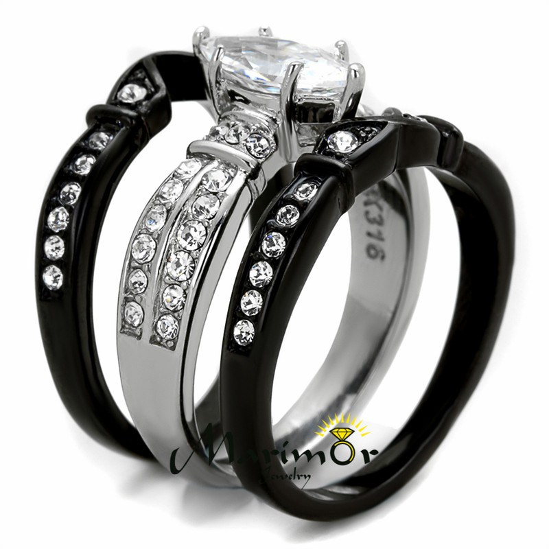 ST1922-RTI3816A Stainless Steel & Titanium His & Hers 4 Pc Black Wedding Engagement Ring Band Set