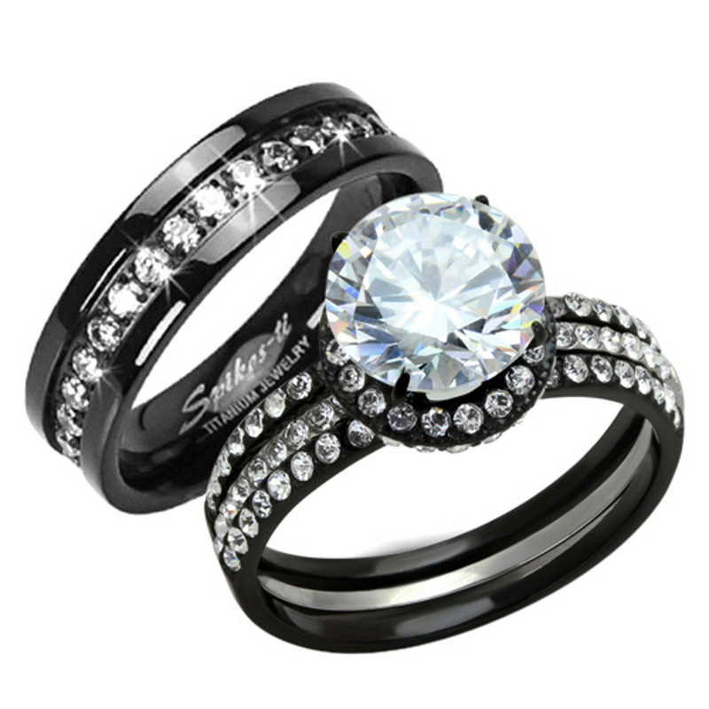 HIS HERS 3 PC BLACK STAINLESS STEEL & TITANIUM WEDDING ENGAGEMENT RING BAND SET