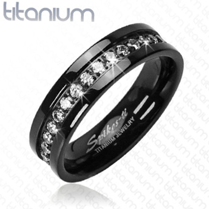 ST1870-3816A Black Stainless Steel & Titanium His & Her's 3Pc Wedding Engagement Ring Band Set