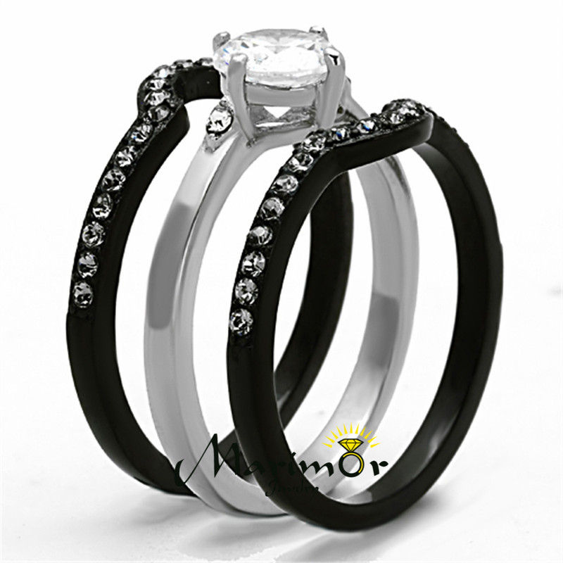 ST1346-RTI4317 Black & Silver Stainless Steel & Titanium His & Her 4pc Wedding Ring Band Set