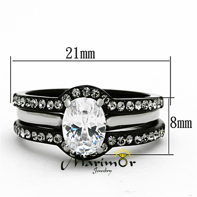 ST1344-R003 Black Stainless Steel His & Hers 4pc Wedding Engagement Ring & Classic Band Set