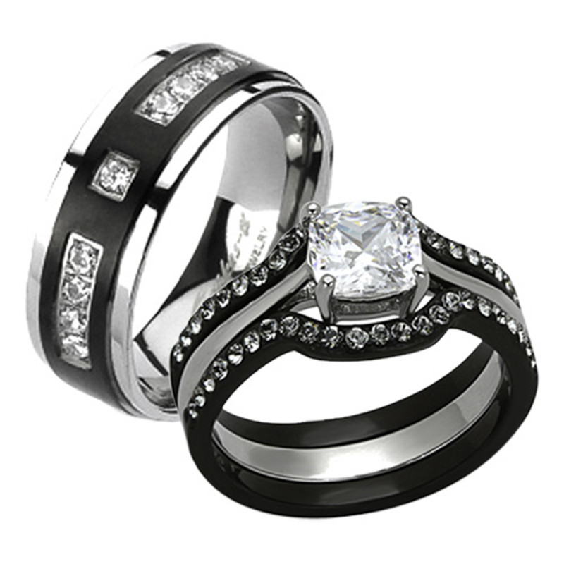 1343 STAINLESS STEEL BLACK SIMULATED DIAMOND RING SET BAND  WEDDING /& ENGAGEMENT
