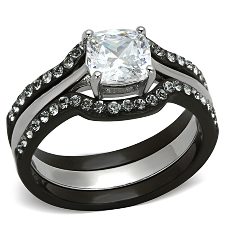 ST1343-3816A Black Stainless Steel & Titanium His & Hers 4Pc Wedding Engagement Ring Band Set