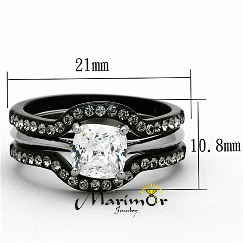ST1343-R003 Black Stainless Steel His & Hers 4pc Wedding Engagement Ring & Classic Band Set