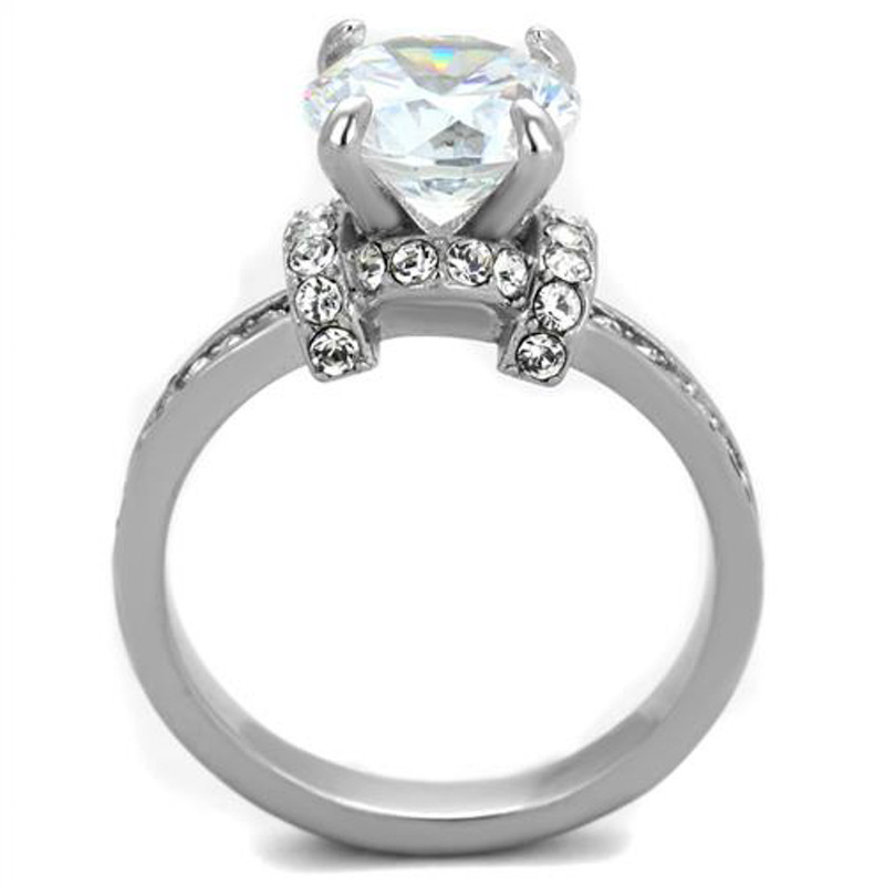 ARTK1859 Stainless Steel Sparkling 3 Ct Round Cut Cz Engagement Ring Women's Size 5-10