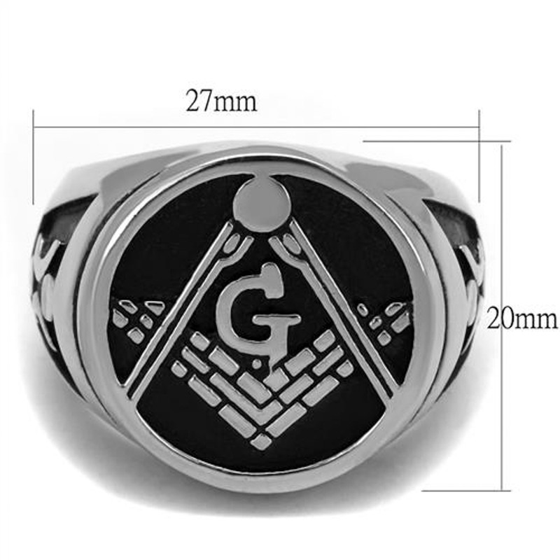 ARTK2315 Stainless Steel Tusk 316 & Epoxy Masonic Lodge Freemason Ring Band Men's Sz 8-13