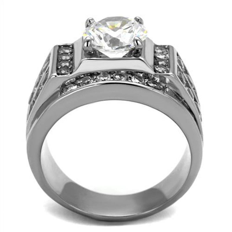 ARTK2305 Stainless Steel Silver Men's 4.03 Ct Round Cut Simulated Diamond Ring Sizes 8-13