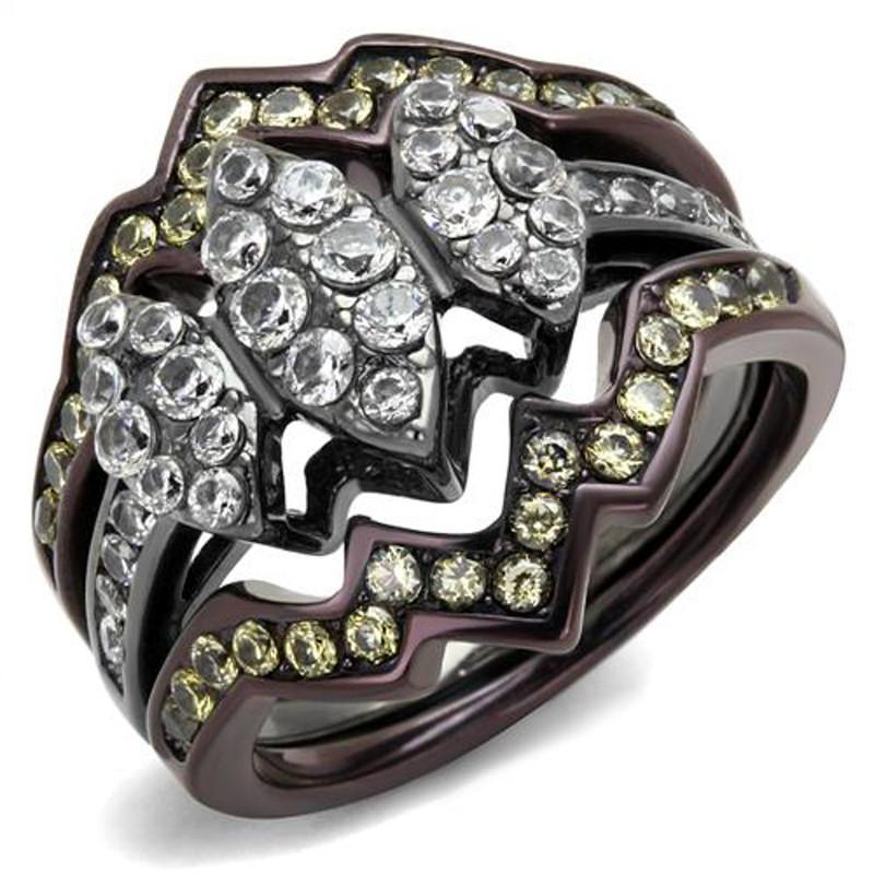1.95 Ct Round Cut Cz Black & Brown Stainless Steel Wedding Ring Set Women's 5-10