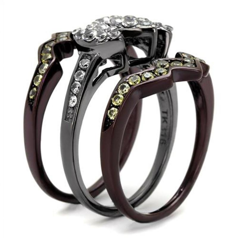 ARTK1869LJ Black & Brown Stainless Steel 1.95 Ct Round Cut Cz Wedding Ring Set Women's 5-10