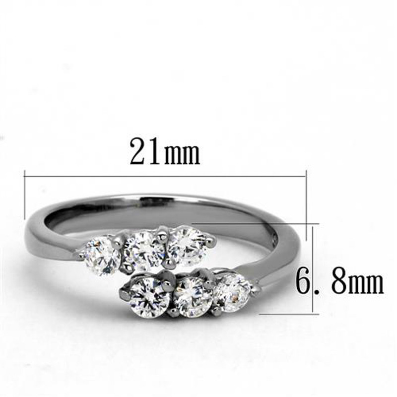 ARTK2259 Stainless Steel .66 Ct Round Cut Zirconia Promise/Cuff Ring Women's Size 5-10