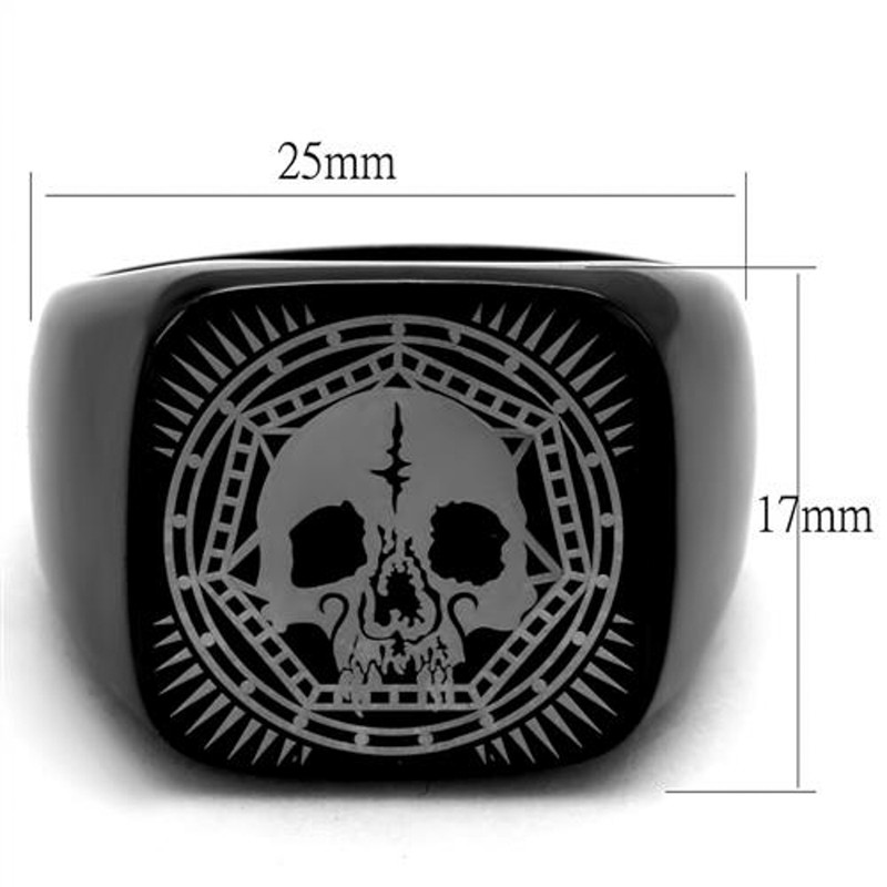 ARTK2306 Stainless Steel Black Ion Plated Skull Ring Band Men's Size 8-13