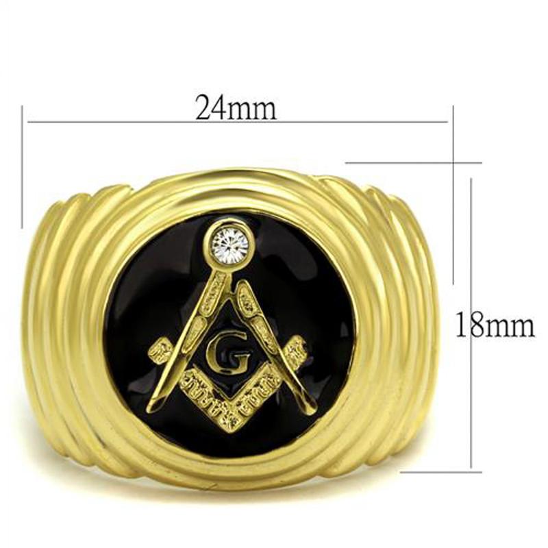 ARTK2224 Men's Stainless Steel 14k Gold I.P. Crystal Masonic Lodge Freemason Ring Sz 8-13