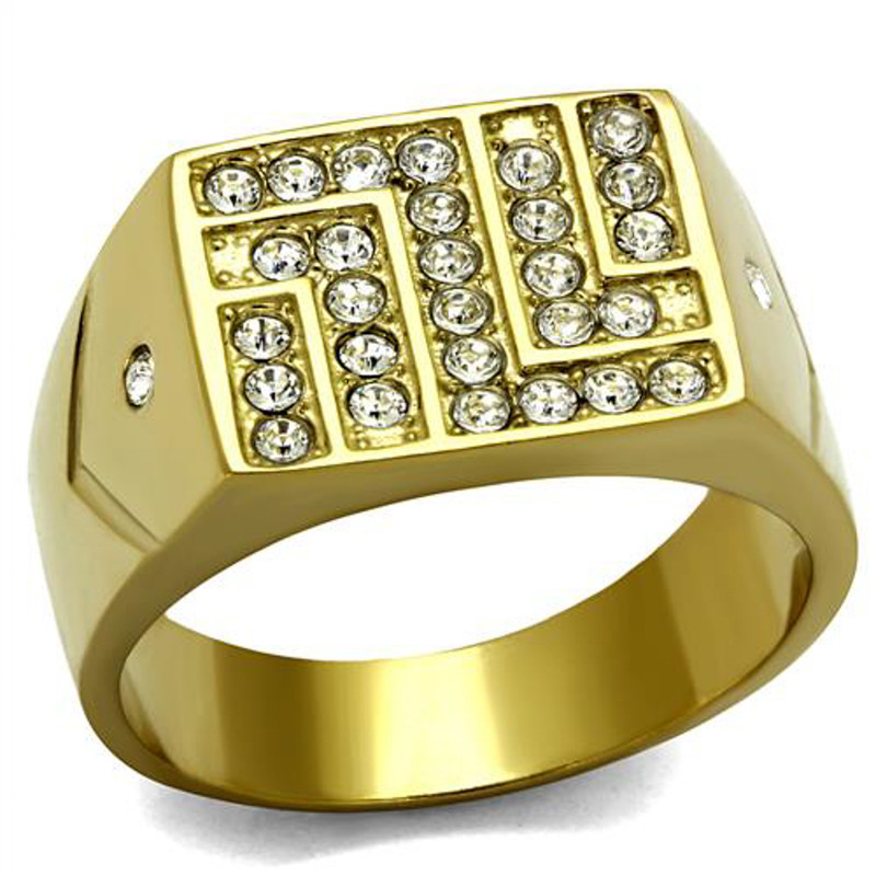 Stainless Steel 14K Gold Ion Plated .46 Ct Simulated Diamond Ring Mens Size 8-13